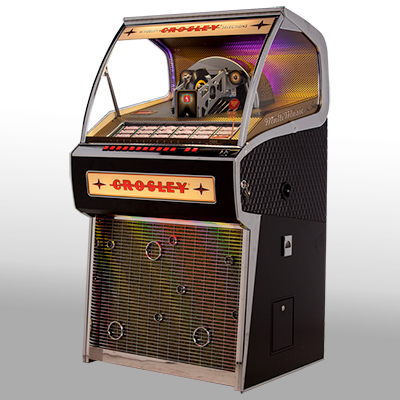 CROSLEY<sup>®</sup> Vinyl Rocket Jukebox - This vinyl-playing jukebox is the only one being manufactured in the world.  Holds 70 45's and can play both A and B sides. Record selections can be made directly from the button bank or via remote control. A Bluetooth receiver gives you the ability to stream digital music from a compatible device. Also features a D4 amplifier and five-way built speaker system.