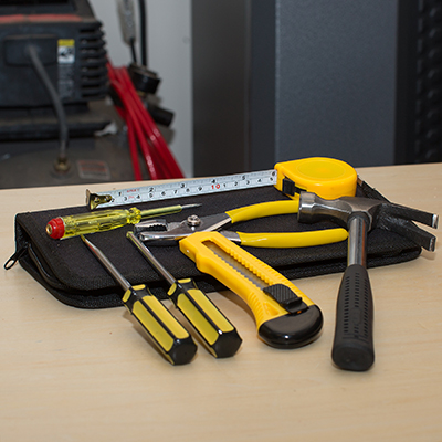 PRECISION CRAFT™ 7-Piece Tool Set - The essentials you need in one compact kit.  This zippered, soft case holds a claw grip hammer, flathead and Phillips screwdriver, utility knife, all purpose pliers and 6